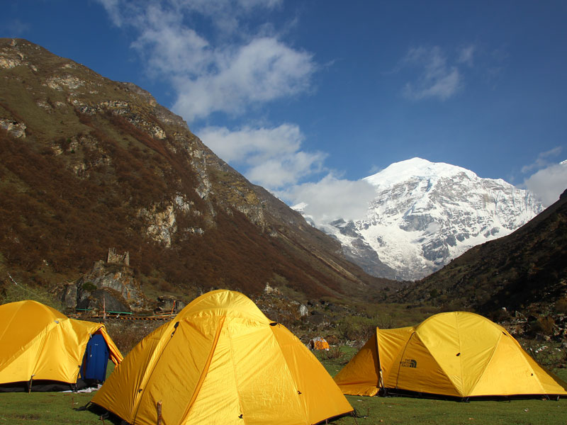 Camps at the base of Mount Jomolhari